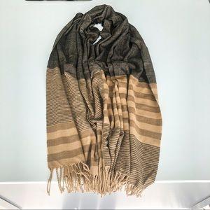 Large Brown & Tan Striped Cozy Scarf